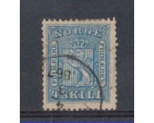 1863 - LOTTO/NORV8U - NORVEGIA - 4 Sk. AZZURRO - USATO