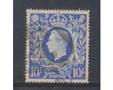 1942 - LOTTO/4875 - GRAN BRETAGNA - 10 Sc. AZZURRO - USATO