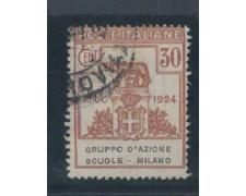 1924 - LOTTO/REGSS40U - REGNO -  30c. GRUPPO AZ. SCUOLE MILANO -