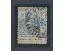 1924 - LOTTO/REGSS22U - REGNO - 1 LIRA  CASSA NAZ. ASSIC. INFORT