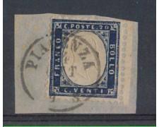 1862 - LOTTO/REG7UF - REGNO - 20c. INDACO ANNULLO PIACENZA