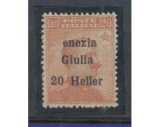 """VENEZIA GIULIA - 1919 - LOTTO/5548 - 20 h. SU 20c. VARIETA' """"ENE"""