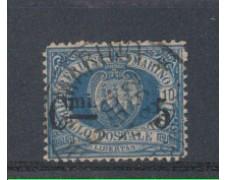 1892 - LOTTO/5642A - S.MARINO - 5c. SU 10c. AZZURRO - USATO