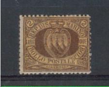1892/94 - LOTTO/5676 - S.MARINO - 2 LIRE BRUNO ARANCIO - LING.