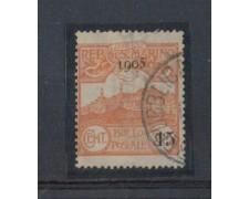 1905 - LOTTO/5677 - S. MARINO - 15 SU 20c. ARANCIO USATO