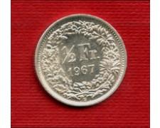 1967 - LOTTO/M23228 - SVIZZERA - 1/2 FRANCO ARGENTO
