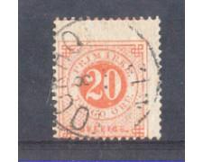 1872 - LOTTO/SVE21IUV - SVEZIA - 20 ORE ROSSO  USATO - VARIETA'