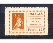 VALLEBORMIDA - 1945 - LOTTO/799C - 1,25c. GIALLO ARANCIO TESEO