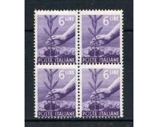 1945 - REPUBBLICA - 6 LIRE DEMOCRATICA - QUARTINA NUOVI - LOTTO/30342