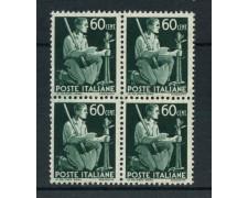 1945 - REPUBBLICA - 60 cent. DEMOCRATICA - QUARTINA NUOVI - LOTTO/30345