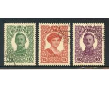 1918 - BOSNIA ERZEGOVINA - PRO BENEFICENZA 3v. - USATI - LOTTO/14623