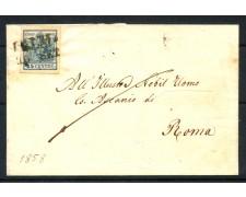 1858 - LOMBARDO VENETO - 45 cent.  II° TIPO  SU PIEGHEVOLE PER ROMA - LOTTO/30283