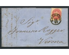 1865 - LOMBARDO VENETO - 5 Soldi ROSA SU BUSTA DA LEGNAGO A VERONA - LOTTO/30284