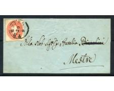 1861/62 - LOMBARDO VENETO - 5 cent. SU BUSTA DA TREVISO A MESTRE - LOTTO/30285