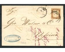 1862 - SARDEGNA - 10 cent. BISTRO BRUNO SU PIEGHEVOLE PER MESSINA - LOTTO/30280