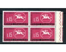 1961 - LOTTO/6398Q - REPUBBLICA - GIORNATA FRANCOBOLLO QUARTINA NUOVI