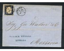 1862 - SARDEGNA - 20 cent. INDACO EFFIGIE SU BUSTA DA LIVORNO - LOTTO/30281