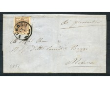 1857 - LOMBARDO VENETO - 30 cent. I° TIPO SU BUSTA DA VERONA PER MILANO - LOTTO/30282