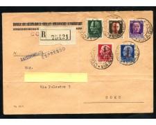 1944 - REPUBBLICA SOCIALE - SERIE SOVRASTAMPATA 5v. - BUSTA RACCOMANDATA - LOTTO/30296