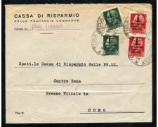 1944 - REPUBBLICA SOCIALE - 25 cent. e 75 cent. SU BUSTA DA TIRANO A COMO - LOTTO/30297