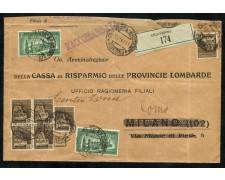 1944/45 - REPUBBLICA SOCIALE - 10c. MONUMENTI DISTRUTTI PIU' ESPRESSO 1,25 - SU RACCOMANDATA - LOTTO/30298