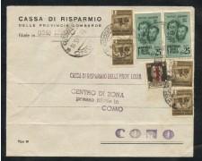 1945 - REPUBBLICA SOCIALE - 25c. FRATELLI BANDIERA PIU' ALTRI VALORI SU BUSTA DA TIRANO A COMO - LOTTO/30301