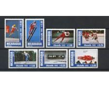 1991 - NICARAGUA - OLIMPIADI DI ALBERTVILLE 7v. - NUOVI - LOTTO/19922A