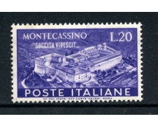 1951 - REPUBBLICA - 20 LIRE ABBAZIA DI MONTECASSINO - NUOVO - LOTTO/30320