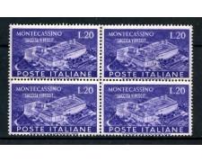 1951 - REPUBBLICA - 20 LIRE ABBAZIA DI MONTECASSINO -  QUARTINA NUOVI - LOTTO/30320Q