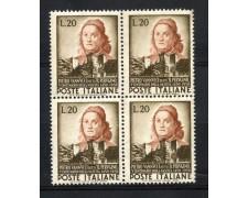 1951 - REPUBBLICA - 20 LIRE P. VANNUCCI DETTO IL PERUGINO - QUARTINA  NUOVI - LOTTO/30324Q