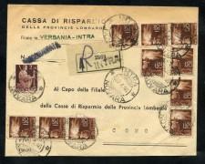 1946 - LUOGOTENENZA - BUSTA RACCOMANDATA DA INTRA A COMO - LOTTO/30305