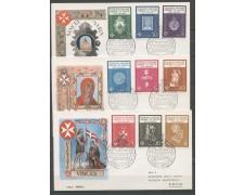 1966 - SOVRANO MILITARE DI MALTA - STEMMI 9v. SU 3 BUSTE FDC - LOTTO/30389