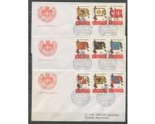 1967 - SOVRANO MILITARE DI MALTA - BANDIERE 9v. SU 3 BUSTE FDC - LOTTO/30390