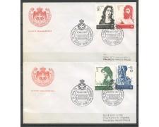 1967 - SOVRANO MILITARE DI MALTA - S. GIOVANNI BATTISTA 4v. SU 2 BUSTE FDC - LOTTO/30391