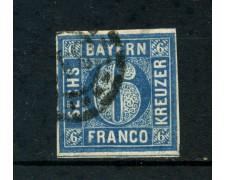 1861 - GERMANIA BAVIERA -  6 KREUZER  AZZURRO - USATO - LOTTO/LBF2362