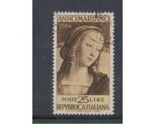 1954 - LOTTO/6251U - REPUBBLICA - 25 L. ANNO MARIANO USATO