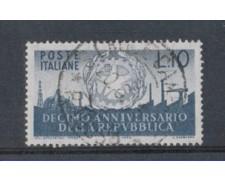 1956 - LOTTO/6301U - REPUBBLICA - 10 L. ANNIVERSARIO REPUBBLICA