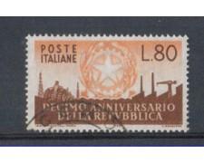 1956 - LOTTO/6304U - REPUBBLICA - 80 L. ANNIVERSARIO REPUBBLICA