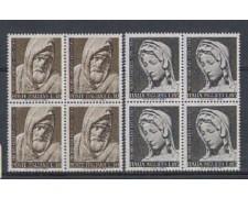 1964 - LOTTO/6425Q - REPUBBLICA - MICHELANGELO 2v. QUARTINE