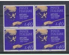 1967 - LOTTO/6461Q - REPUBBLICA - ARTURO TOSCANINI QUARTINA