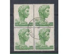 1969 - LOTTO/6515UQ - 500 L. S. GIORGIO QUARTINA USATA