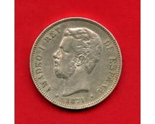 1871 - SPAGNA - 5 PESETAS ARGENTO  AMEDEO I°- LOTTO/M30014 -