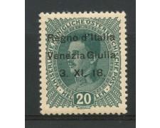 1918 - VENEZIA GIULIA - 20 h. VERDE  NUOVO - VARIETA' - LOTTO/2214
