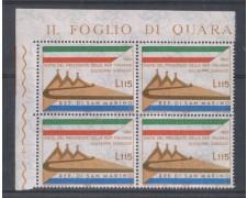 1965 - LOTTO/7900Q - SAN MARINO - VISITA SARAGAT - QUARTINA