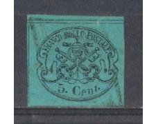 STATO PONTIFICIO - 1867 - LOTTO/2588A - 5c. AZZURRO VERDASTRO -