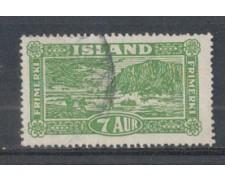 1925 - LOTTO/4919 - ISLANDA - 1 AUR VERDE - USATO