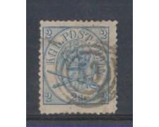 1864 - LOTTO/DAN11U - DANIMARCA - 2s. AZZURRO - USATO
