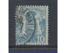 1924 - LOTTO/8505U - MONACO - 10c. AZZURRO STEMMA - USATO