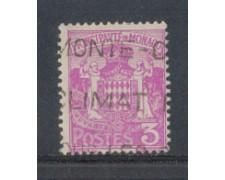 1924 - LOTTO/8503U - MONACO - 3c. LILLA STEMMA - USATO