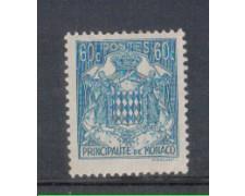 1942 - LOTTO/8576EL - MONACO - 60c. AZZURRO STEMMA